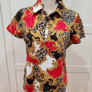 Zenergy by Chico's Red Black Gold Golf Shirt Sz: 1